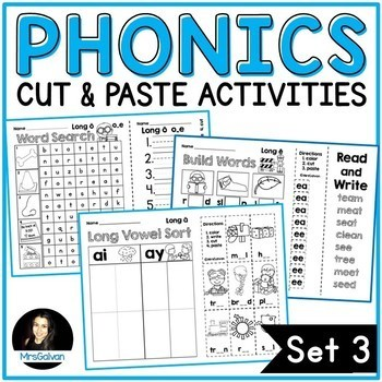 Long Vowels Phonics Cut and Paste Activities Set 3 NO PREP