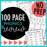 NO PREP Phonics Review 100 Pages   Phonics Worksheets