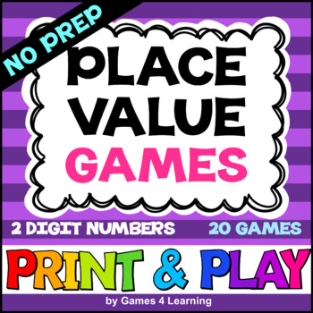 NO PREP Place Value Games for 2 Digit Numbers: Tens and Ones