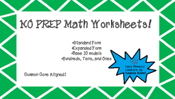 NO PREP Place Value Math! Grades 1 & 2