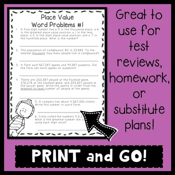 No Prep Place Value Packet 4th Grade By The Resource