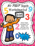 NO PREP Place Value Worksheets! Grades 1 & 2