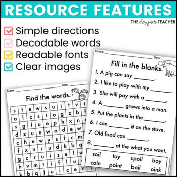 NO PREP Print & Go Diphthongs Word Work BUNDLE