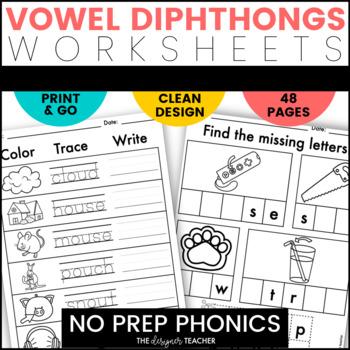 NO PREP Diphthongs Phonics Worksheets Word Work BUNDLE