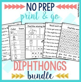 NO PREP Print & Go Diphthongs Word Work BUNDLE
