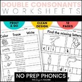 NO PREP Phonics Worksheets Double Consonants Word Work {FF, LL, SS, & ZZ}