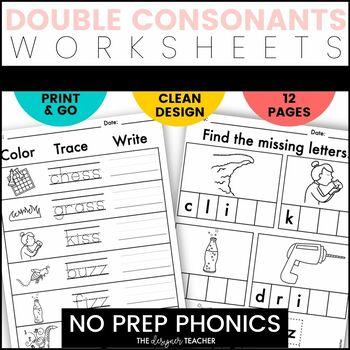 NO PREP Print & Go Double Consonants Word Work {FF, LL, SS, & ZZ}