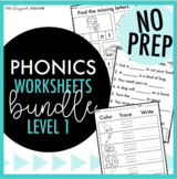 NO PREP Phonics Worksheets Print & Go Complete Word Work BUNDLE