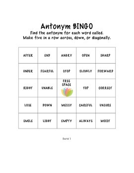 NO PREP  Print and Play Antonym Bingo