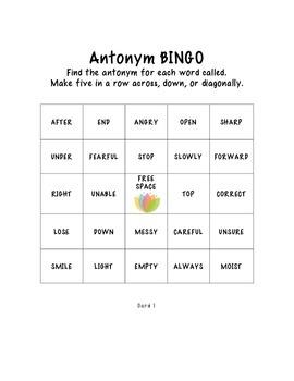 NO PREP  Print and Play Antonym Bingo