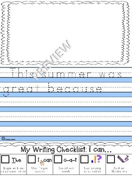 graphic about Printable Journal Paper titled NO PREP Printable Principal Magazine Paper- Again in the direction of College Summertime Creating Freebie