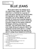 "NO PREP Printable Typing Assignment (20 minute activity) ""Blue Jeans"""