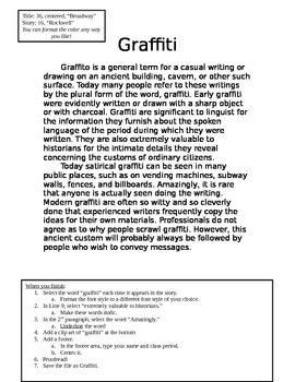 "NO PREP Printable Typing Assignment (20 minute activity) ""Graffit"""