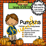 NO PREP Pumpkin Themed Math and Literacy Games Bundle