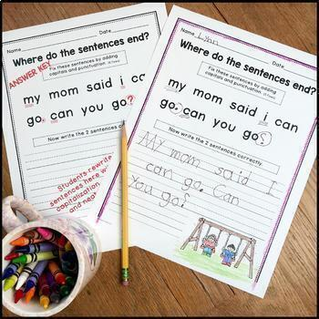 MEGA GROWING BUNDLE: Punctuation and Capitalization; Where do the sentences end?
