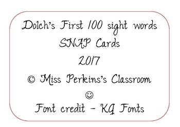 NO PREP REQUIRED! Dolch's First 100 Sight Words SNAP cards