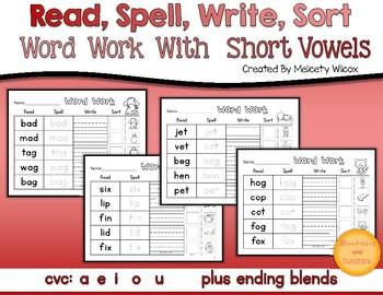 Word Sorts Short Vowels and Ending Blends