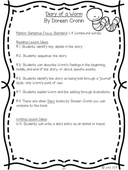 NO PREP Reading & Writing Units {ONE FREE UNIT- Diary of a Worm}