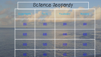Science Jeopardy First and Second Grade!