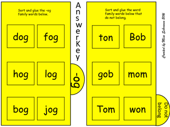 NO PREP Short O CVC Word Sort OR Interactive Notebook