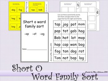 NO PREP Short O CVC Word Sort OR Interactive Notebook