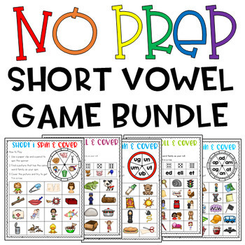 NO PREP Short Vowel Games BUNDLE!