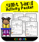 NO PREP Sight Word Activities -Colours (UK and US Spelling