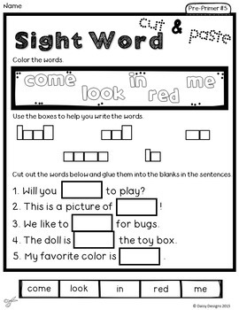 NO PREP Sight Word Cut and Paste Printables Level 2 - Pre-Primer and Primer