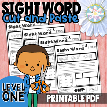 NO PREP Sight Word Cut and Paste Printables Level 1 - Pre-Primer and Primer
