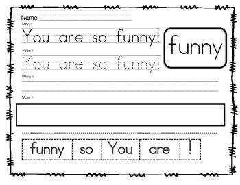 NO PREP Sight Word Sentences Pre-Primer