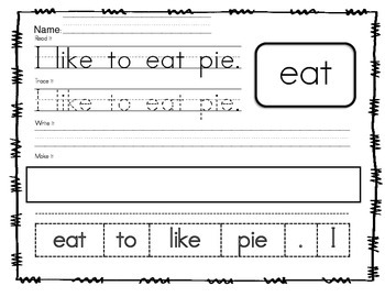 NO PREP Sight Word Sentences Primer edition
