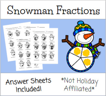 NO PREP Snowman Fraction Worksheets