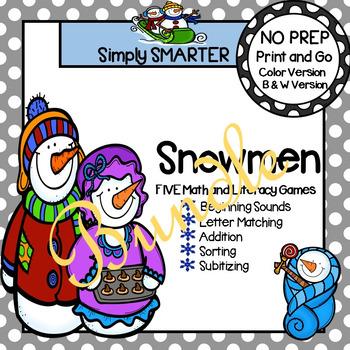 NO PREP Snowmen Themed Math and Literacy Games Bundle