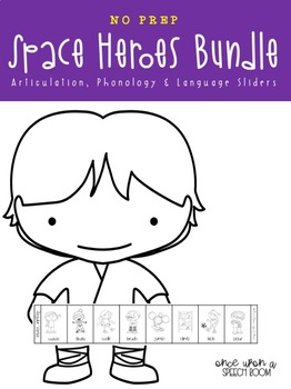 NO PREP Space Hero Sliders BUNDLE for Articulation, Phonology & Language