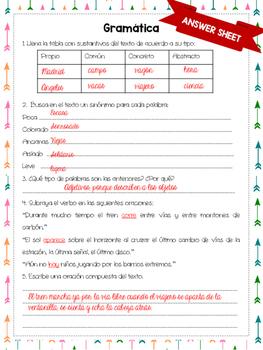 NO PREP - Spanish Close reading and Grammar Assessment {Viaje a la Alcarria}