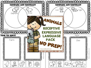 NO PREP Speech Therapy - Rec & Exp Language Pack ANIMAL THEME