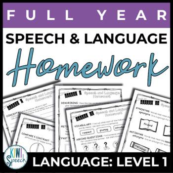NO PREP Speech and Language Homework - Full Year - Language Level 1 (K-2)