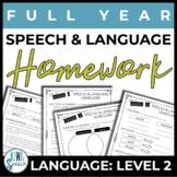 NO PREP Speech and Language Homework - Full Year - Language Level 2 (Grades 3+)