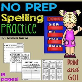 NO PREP Spelling Activities