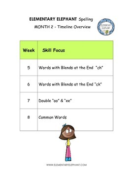 Spelling Curriculum-Month 2- Activity Pack- CCSS! Grade 4 by Elementary Elephant