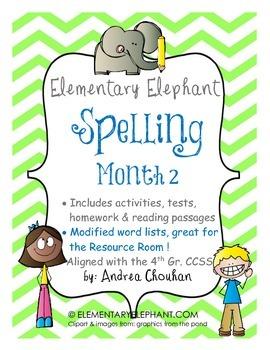 Spelling Curriculum-Month 2- Activity Pack- CCSS! Grade 4