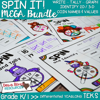 NO PREP Spin It! YEARLONG Differentiated Math Centers MEGA