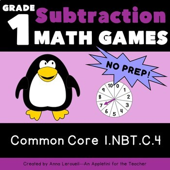 NO PREP 1st Grade Spin to Win Subtraction Games