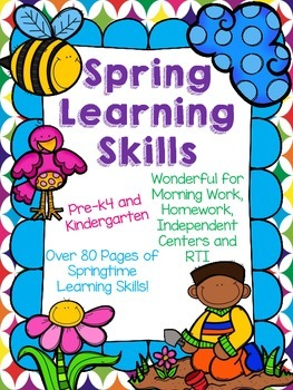 *NO PREP* March, April and May Learning Skills for Kindergarten and PREK4