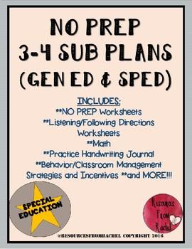 NO PREP Sub Plans (3-4 GEN ED/SPED)