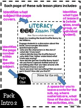 NO PREP Substitute Plans PreK-K {Full Day, All Subjects!} based on Knuffle Bunny