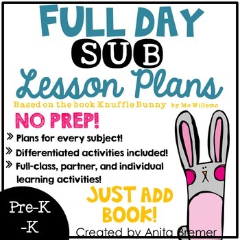 NO PREP Substitute Plans PreK-K {Full Day, All Subjects!}