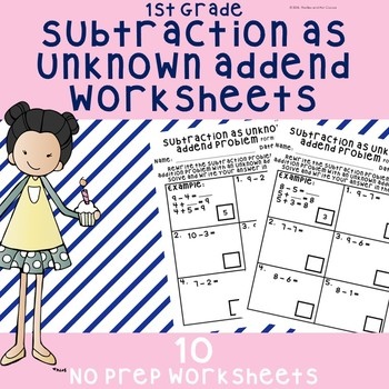 NO PREP Subtraction as Addition With Unknown Addend Worksheets