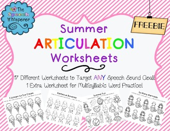 NO PREP Summer Articulation Worksheets