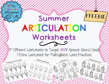 NO PREP Summer Articulation Worksheets